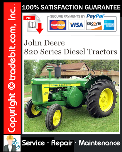 Thumbnail John Deere 820 Series Diesel Tractors Service Repair Manual Download ★