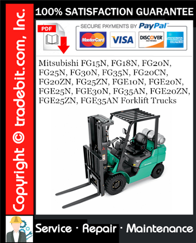 Thumbnail Mitsubishi FG15N, FG18N, FG20N, FG25N, FG30N, FG35N, FG20CN, FG20ZN, FG25ZN, FGE10N, FGE20N, FGE25N, FGE30N, FG35AN, FGE20ZN, FGE25ZN, FGE35AN Forklift Trucks Service Repair Manual Download ★