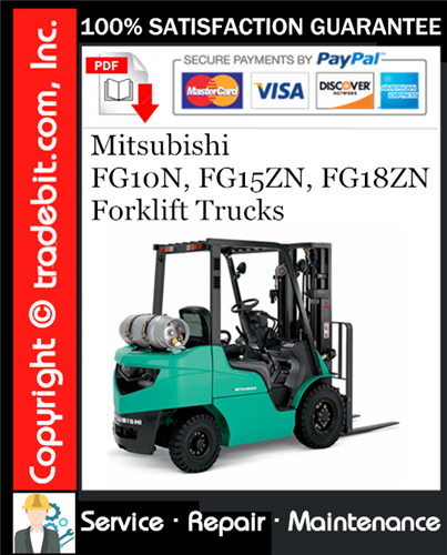 Thumbnail Mitsubishi FG10N, FG15ZN, FG18ZN Forklift Trucks Service Repair Manual Download ★